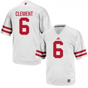 For Men White Authentic University of Wisconsin NCAA Jerseys of Corey Clement