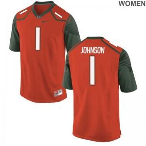 DJ Johnson Miami NCAA Jerseys Ladies Orange Limited Jerseys
