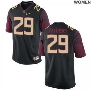 Black D.J. Matthews Jerseys FSU Game Women