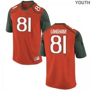 Darrell Langham Youth(Kids) Orange Jerseys Hurricanes Game