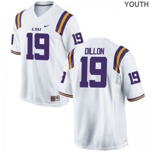 Derrick Dillon Jerseys LSU Tigers White Game Kids Football Jerseys