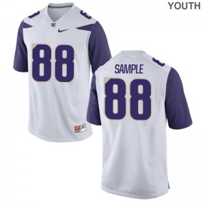 UW Drew Sample Jerseys White Youth(Kids) Game Jerseys
