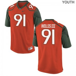 Miami Hurricanes Jersey Gerald Willis III Orange Youth Game