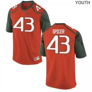 Jack Spicer Hurricanes Youth(Kids) Limited Football Jerseys - Orange
