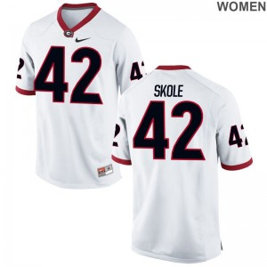 For Women White Limited UGA NCAA Jersey of Jake Skole