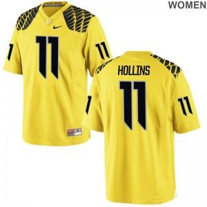 Justin Hollins University of Oregon Football Jerseys Limited Gold For Women