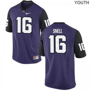 For Kids Kenedy Snell Football Jerseys Horned Frogs Purple Black Limited