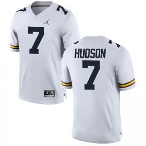 Limited Wolverines Khaleke Hudson Men Jordan White Jersey