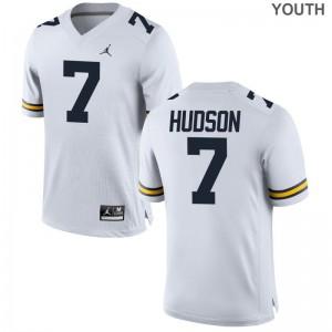 Michigan Jordan White Game Kids Khaleke Hudson Jersey S-XL