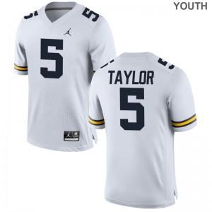 Youth Kurt Taylor Jersey Michigan Jordan White Limited