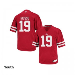 Leo Musso Kids College Jersey Red Authentic University of Wisconsin