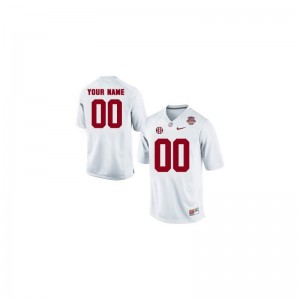 University of Alabama Custom Jersey Mens Limited White 2013 BCS Patch