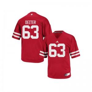 Wisconsin Badgers Michael Deiter Jersey Replica Red Mens