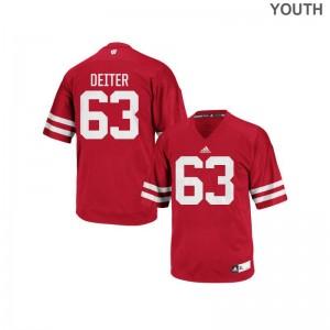 Michael Deiter Kids Jerseys S-XL Replica Wisconsin Badgers - Red
