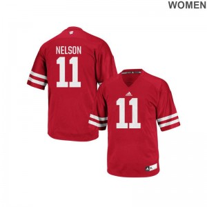 Wisconsin Badgers Authentic Nick Nelson Women Red Jersey S-2XL