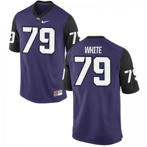 For Men Purple Black Limited Texas Christian Player Jersey of Quazzel White