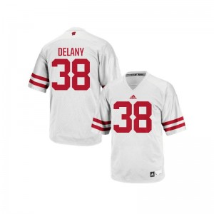 For Men Sam DeLany Jersey Wisconsin Badgers Replica White
