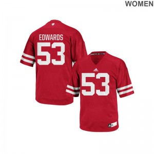 Wisconsin Badgers Jersey of T.J. Edwards Red Authentic Ladies