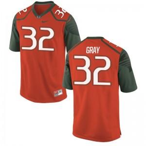 Trayone Gray Mens Jersey Game University of Miami Orange