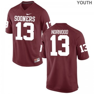 Tre Norwood Sooners NCAA Jersey Game Crimson Youth