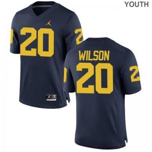 Limited University of Michigan Tru Wilson For Kids Jordan Navy Jersey S-XL