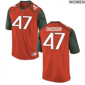 Orange Turner Davidson Jerseys S-2XL University of Miami Game Ladies