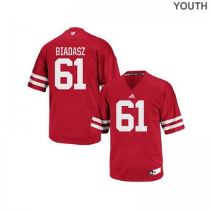 Authentic Red Kids Wisconsin Badgers Jerseys Tyler Biadasz