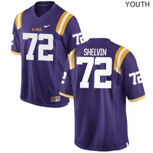 Louisiana State Tigers Tyler Shelvin Jerseys Purple Game Kids