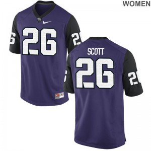Texas Christian Football Jerseys Vernon Scott Purple Black Game For Women